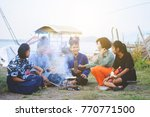 teacher and students camping... | Shutterstock . vector #770771500