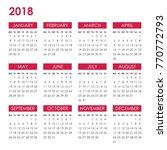 Calendar For 2018 Year Isolate...