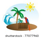 summer background with palm... | Shutterstock .eps vector #77077960