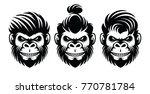 set monkey barbershop hairstyle ... | Shutterstock .eps vector #770781784