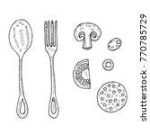 set of cutlery  ingredients for ... | Shutterstock . vector #770785729