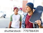 teenage friends walking at the... | Shutterstock . vector #770786434