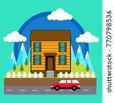 village. small town   Shutterstock .eps vector #770798536
