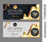 voucher template with gold ... | Shutterstock .eps vector #770800528