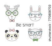 set of hand drawn cute funny... | Shutterstock .eps vector #770808703