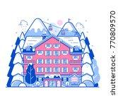 ski resort landscape in line...   Shutterstock .eps vector #770809570