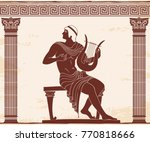 vector vintage greek national... | Shutterstock .eps vector #770818666