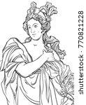 greek goddess in line style.... | Shutterstock .eps vector #770821228