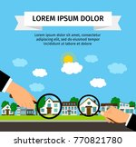 search house with loupe banner... | Shutterstock .eps vector #770821780