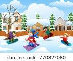 vector illustration of happy... | Shutterstock .eps vector #770822080