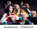 emotional friends with popcorn... | Shutterstock . vector #770833234