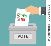 hand vote ballot with box    Shutterstock .eps vector #770847178