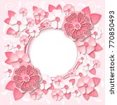 beautiful pink round frame with ... | Shutterstock .eps vector #770850493