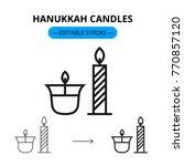 hanukkah candles vector line... | Shutterstock .eps vector #770857120