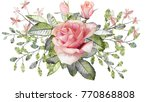 watercolor drawing of twig with ... | Shutterstock . vector #770868808