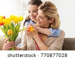 people  family and holidays... | Shutterstock . vector #770877028