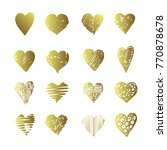 vector gold hand drawn set with ... | Shutterstock .eps vector #770878678