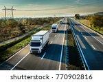 caravan of white trucks in line ... | Shutterstock . vector #770902816
