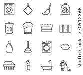 thin line icon set   washing... | Shutterstock .eps vector #770912368