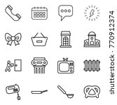 thin line icon set   phone ... | Shutterstock .eps vector #770912374