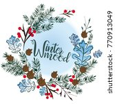 christmas wreath on a blue... | Shutterstock .eps vector #770913049