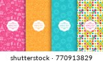 set of cute bright seamless... | Shutterstock .eps vector #770913829