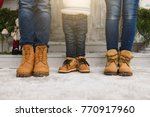 cropped parents little son legs ... | Shutterstock . vector #770917960