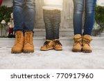 cropped parents little son legs ... | Shutterstock . vector #770917960