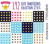 emoji big set. funny cartoon... | Shutterstock . vector #770923840