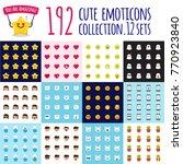 emoji big set. funny cartoon... | Shutterstock . vector #770923840
