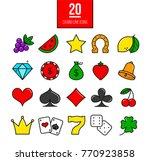 bright casino line icons set. ... | Shutterstock . vector #770923858