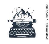 hand drawn retro typewriter and ... | Shutterstock .eps vector #770929480
