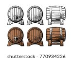 wooden barrel front and side...   Shutterstock .eps vector #770934226