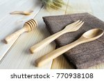 wooden kitchen utensils on... | Shutterstock . vector #770938108