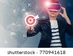 businessman pressing button... | Shutterstock . vector #770941618