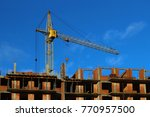 the crane on the construction... | Shutterstock . vector #770957500