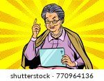 elderly woman with a tablet.... | Shutterstock .eps vector #770964136
