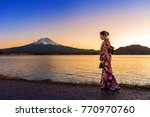 asian woman wearing japanese...   Shutterstock . vector #770970760