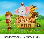 collection of zoo animals with