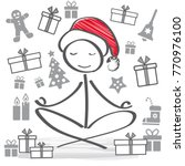 meditative  santa claus with... | Shutterstock .eps vector #770976100