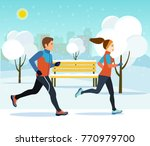 young man and woman jogging in... | Shutterstock .eps vector #770979700