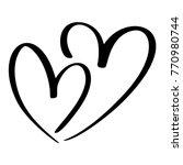 two lovers heart. handmade... | Shutterstock .eps vector #770980744
