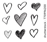 set of 6 handdrawn hearts. hand ... | Shutterstock .eps vector #770996200