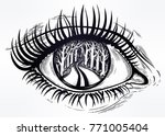 realistic eye with highly... | Shutterstock .eps vector #771005404