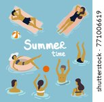 flat design people swimming in... | Shutterstock .eps vector #771006619