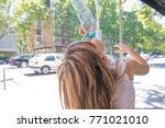 back of blonde caucasian child... | Shutterstock . vector #771021010