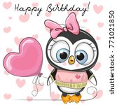 Cute Cartoon Penguin Girl With...