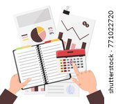business man planning his work... | Shutterstock .eps vector #771022720