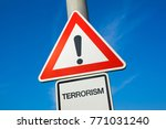 terrorism   exclamation mark to ... | Shutterstock . vector #771031240