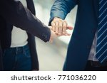 group of young people united... | Shutterstock . vector #771036220
